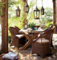 Pottery Barn Rustic Outdoor Furniture On Outdoor Garden Furniture Rustic Outdoor Decor, Rustic Outdoor Furniture, Outdoor Rooms, Outdoor Dining, Outdoor Lantern, Dining Area, Outdoor Seating, Indoor Outdoor, Outdoor Lighting