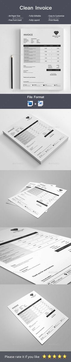 Blue Boxed Invoice Template Word Invoice Templates Pinterest