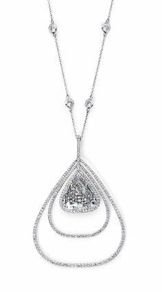Triangle shape rose cut Diamond set in a double row pendant  With 1,030 micro set diamonds designed by Martin Katz.