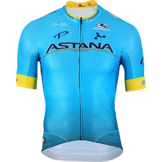 Three years before the black and blue British juggernaut entered the cycling world, one of the oldest teams in the peloton switched title sponsors from Liberty Seguras to Team Astana. This involved trading in the purple/blue color of the former for the sky blue and gold of Kazakhstan's national flag, giving the Giordana Men's FR-C Pro Astana Team Jersey the right to claim seniority as the first kit to bring sky to the peloton. Aesthetics aside, the FR-C Pro is the same FormaRed Carbon (FR-C) Cycling Workout, Cycling Gear, Cycling Outfit, Triathlon Training, Cool Bike Accessories, Bike Seat, Clothes, National Flag, Light Short