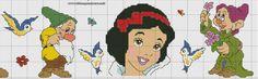 SCHEMA BORDURA BIANCANEVE E I SETTE NANI PUNTO CROCE FOGLIO B Cross Stitch Bookmarks, Cross Stitch Baby, Disney Cross Stitch Patterns, Counted Cross Stitch Patterns, Snow White Dwarfs, Disney Stitch, Disney Cartoons, Princesas Disney, Baby Disney