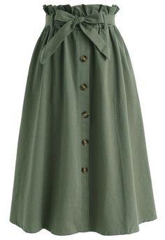 Tie Waist Button Down Skirt Green, #Button #Green #skirt #tie #Waist