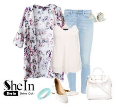 """White Floral Kimono !"" by eva-kouliaridou ❤ liked on Polyvore featuring moda, Paige Denim, New Look, Chloé i Alexander McQueen"