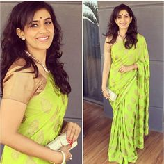 """Bright green brocade saree with gold blouse To purchase mail us at…"