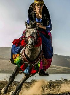 Kurdish woman in traditional costume on a magnificent decorated Horse. So pretty. Turkish Beauty, Turkish Fashion, Iranian Women, Kurdistan, Jolie Photo, People Of The World, World Cultures, Stylish Girl, Horse Riding