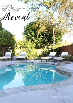 Backyard & Pool Design and Renovation Ideas! Full reveal with before and after plus sources of our pool and hardscape remodel---> #maisondecinq poolremodel poolideas pooldesign backyarddesign hardscape backyardremodel outdoorlivingspace outdoorideas outdoorliving hardscapeideas Backyard Pool Designs, Patio Design, Backyard Landscaping, Landscaping Ideas, French Country Cottage, French Farmhouse, Farmhouse Style, Casa Rock, Country Pool