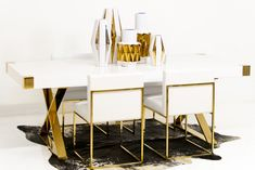 Jet Setter Dining Table w/ 007 white croc dining chairs by ModShop