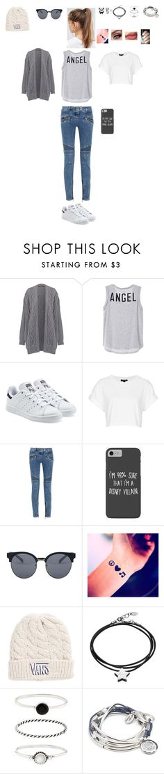 """Sans titre #1775"" by leacousty55 ❤ liked on Polyvore featuring adidas Originals, Topshop, Balmain, Disney, Quay, Vans, Under the Rose, Accessorize, Lizzy James and NIKE"