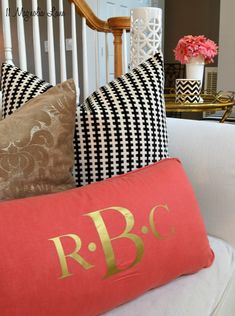 Iron-On Three-Initial Silver or Gold Monogram by 11MagnoliaLane--great for lumbar pillows