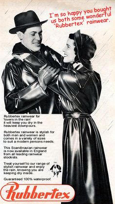 treating your loved one to the rainwear you both enjoy. Retro Fashion, Love Fashion, Plastic Mac, Rubber Raincoats, Rain Gear, Vintage Pictures, Vintage Ads, Chemistry, Latex