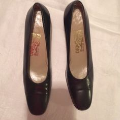 "Vintage Salvatore Ferragamo Shoes Beautiful Black Salvatore Ferragamo shoes. Used in great condition  2"" heels. 8 A (narrow) Salvatore Ferragamo Shoes"