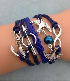 blue style flying bird owl leather bracelet , shop at Costwe.com