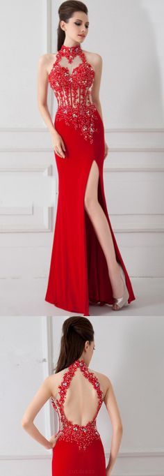 Red Prom Dresses, Long Prom Dresses, Sexy Prom dresses, Backless Prom Dresses, Long Red Prom Dresses, Prom Dresses Red, Red Long Prom Dresses, Prom Dresses Long, Sexy Red Dresses, Long Red dresses, Sexy Long Dresses, Front Split Sexy Red Beaded Backless Long Prom Dresses