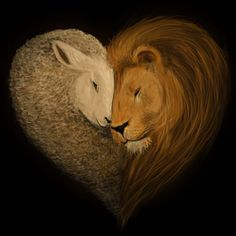 """So the lion fell in love with the lamb."" ""What a stupid lamb."" ""What a sick, masochistic lion. Lamb Tattoo, Lion And Lamb, Prophetic Art, Lion Of Judah, Christian Art, Christian Drawings, Christian Paintings, Gods Love, Peace And Love"