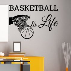 """Basketball Is Life Wall Decal Quote Basketball Hoop Sports Wall Decals Murals Vinyl Stickers Bedroom Nursery Kids Boys Room Home Decor Q118. Color: black; Size: 22"""" X 32"""". Material: vinyl wall decal; Waterproof and gift transfer film, no harmful to health and environment. Package Included: 1x transfer film; 1x wall sticker. Shippinng: the estimate delivery time is 5~10 working days. Vinyl is easy to remove. Just use a hair blow dryer to loosen the vinyl from the wall."""