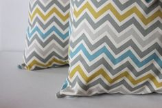 ONE  18 x 18 Grey Blue and Mustard Yellow Zoom by modestpillows, $17.00