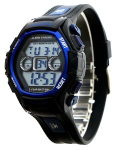 Kids Outdoor Sport LCD Digital Electrical Luminescent Waterproof Boys/Girls Wrist Watch with Stopwatch and Silicone Band Sports Watch Gift for 5-12 Years Old (Black Blue) -- Details can be found by clicking on the image.