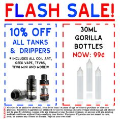 Check out our FLASH SALE!!! #vapors #gorillabottles #tanks #vapes #drippers #drip #tank #ejuice #eliquid #vaporwave #vapefam #sale #vape