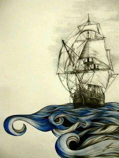 2017 trend Couples Tattoos Ideas - :) a boat,could be cool tat idea Art And Illustration, Theme Tattoo, Symbol Tattoos, Ouvrages D'art, Nautical Art, Nautical Tattoos, Tatoo Art, Skin Art, Art Inspo