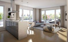 Eine tolle Einrichtungsidee für den Wohn- und Küchenbereich. Neubauprojekt: Das Edison von der Firma Ballwanz Immobilien.