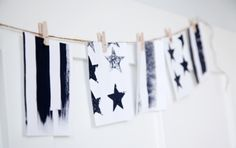 black and white stars and stripes Potato Stamp, Potato Print, Black And White Stars, Independence Day, Stamping, Easy Diy, Scrap, Banner, Stripes