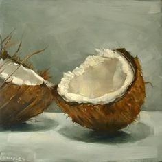 "Cracked Coconut by Michael Naples. Oil on 1/4"" board. 6"" x 6"""