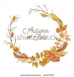 Autumn wreath of leaves and branches hand drawn. Watercolor illustration. Greeting card or Invitation. Autumn decor