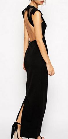 So Gorgeous! Love this Dress! Sexy Black Hollow-out Back Sleeveless Maxi Party Dress