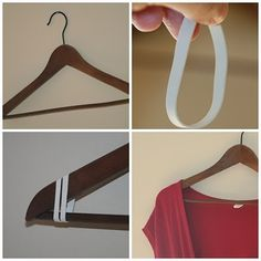 Wrap rubber bands around the ends of a coat hanger to prevent dresses from slipping off.