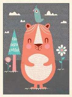 Bear Bird art print