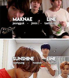 maknae line jimin taehyung jeongguk sunchine line taehyung hoseok jimin bts