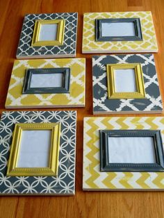 Set of 6 distressed Chevron and Moroccan grey and yellow (6) Frame collage - (3) 4x6 and (3) 5x7