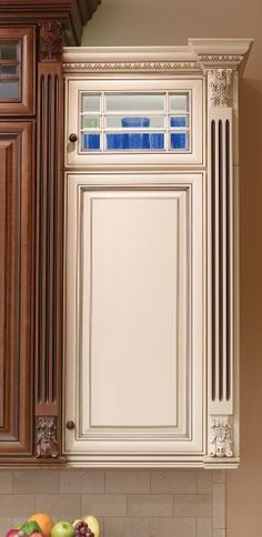 Covered Bridge Cabinetry- Two Toned French Style Kitchen Glass Front Cabinets, First Kitchen, Cornice, French Country Style, Kitchen Cabinetry, Covered Bridges, Country Kitchen, Entryway, Art Deco