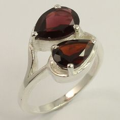 Natural GARNET Pear Faceted Gemstone 925 Sterling Silver Amazing Ring Size US 7 #Unbranded Pear Ring, Silver Jewellery Indian, Garnet Rings, Amethyst Gemstone, Handcrafted Jewelry, Sterling Silver Jewelry, Gemstones, Natural, Amazing
