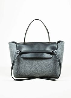 Black and Grey Wool and Felt Top Handle Celine