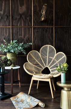 Decor by Establishment Studios, Melbourne Australia by Anthony Basheer Home interior inspiration in natural boutique style. Unique chair for decorative sitting corner. Rattan chair as leaves in room with dark wood walls Home Garden Design, Home Office Design, House Design, Home Office Chairs, Home Office Decor, Home Decor, Office Decorations, Office Desk, Interior Tropical