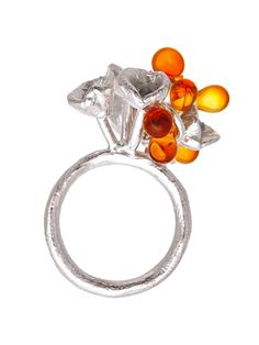 Kathryn Wardill - Coral Garden Ring – Orange - sterling silver and coloured glass