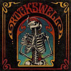 The last cigarette. Design by Aaron von Freter for Rockswell. Inspired by vintage skateboard deck art. skeleton, skull, custom typography, rock, rock&roll, illustration
