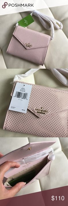 BNew Kate Spade lilac street dot crossbody bag Crossbody bag. Gold chain and leather strap on the shoulders. Lilac with gold polka dots. Really pretty and perfect spring/summer bag. Looks like a wallet on a chain. Fita iphone ans wallet. Has 3 card slots. kate spade Bags Crossbody Bags