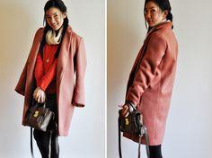 pink coat completed. Pattern by BurdaStyle 08/2012 101B wool long coat. From Vivat Veritas Blog.