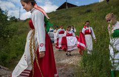 A folklore ensemble celebrates the 380th anniversary of the Sergievskaya Sloboda village, located on the Sukhona River, on July 2015.  According to local accounts, Russian culture is disappearing from small villages, as the youth lose interest in keeping traditions alive. In Moscow, though, a cultural revival is happening as more and more people gather to celebrate holidays according to the traditions.