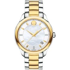 Movado Bellina Mother of Pearl Dial Ladies Watch ($495) ❤ liked on Polyvore featuring jewelry, watches, analog watches, white faced watches, white dial watches, stainless steel watches and stainless steel wrist watch