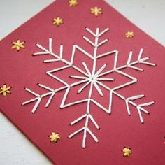 Your place to buy and sell all things handmade - Ben Min - Your place to buy and sell all things handmade HOLIDAY DIY Snowflake Card Embroidery Kit - four red cards, white and yellow thread - Diy Holiday Cards, Homemade Christmas Cards, Noel Christmas, Diy Cards, Homemade Cards, Christmas Hanukkah, Halloween Christmas, Winter Christmas, Embroidery Cards