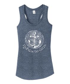 This Navy Frost & White Anchor 'Refuse to Sink' Racerback Tank is perfect! #zulilyfinds