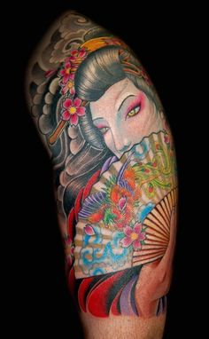 Geisha tattoo design by Russ Abbott