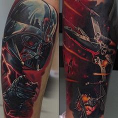 Star Wars sleeve #tattoo. Via tattooartistmagazineblog.com