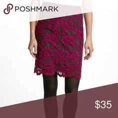 Anthropologie Embroidered Lace Pencil Skirt sz 2 Yoana Baraschi embroidered lace pencil skirt with bright fuchsia lace and charcoal grey layer underneath. Good used condition. Anthropologie Skirts