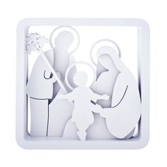 Belíssimo quadro em mdf 3D, na cor branca, representando a sagrada família.Para decorar sua casa,o ano todo.Em especial no Natal. (Casa de Valentina)