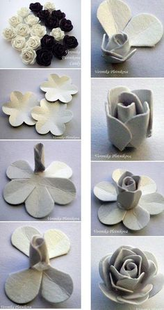 paper roses DIY :: xLaurieClarkex-- though these are paper it is still an excellent tutorial on using a quick 6-petal cutter method for roses - a set of 6 sizes is usually less than $10, you just cut the notches into the center with a cutting wheel :-)