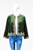 Oscar de la Renta Green Velvet Woven Beaded Trim Open Long Sleeve Jacket SZ 10
